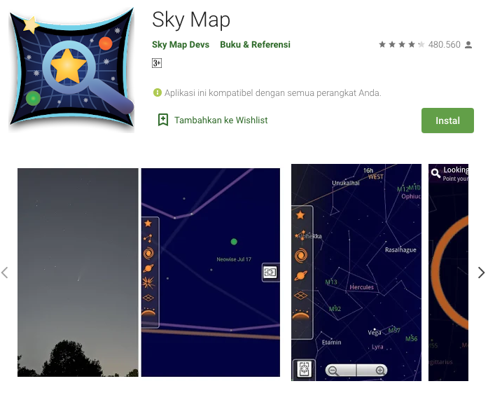 Google Sky Map, Aplikasi AR rasi bintang