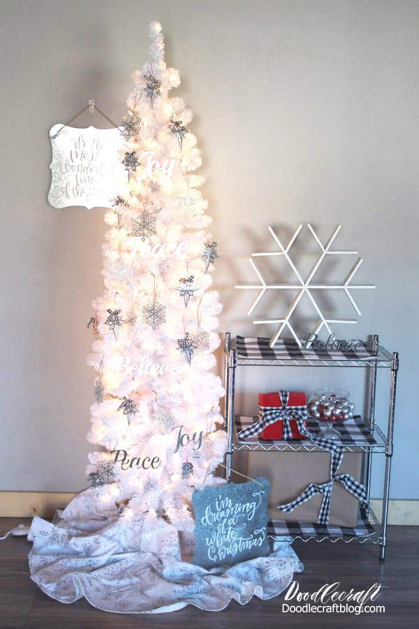 Farmhouse Style Buffalo Plaid Christmas Tree with galvanized steel ornaments and buffalo check details.