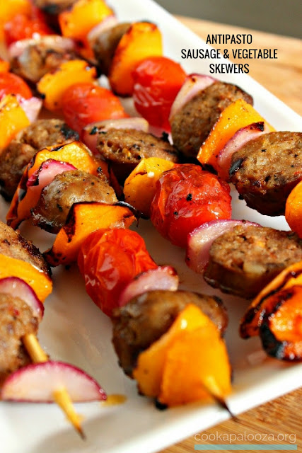 Mild Italian Sausage and Marinated Vegetables Cooked on a Skewer