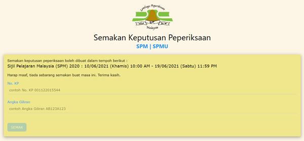 Check result SPM 2020