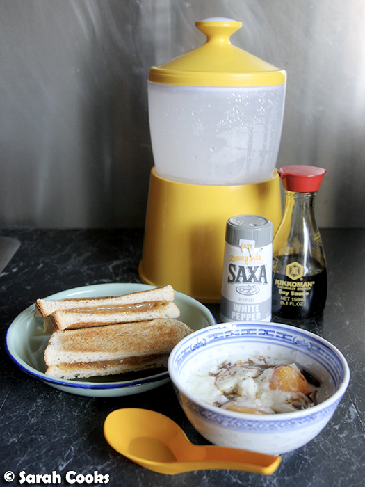Kaya toast with half boiled egg