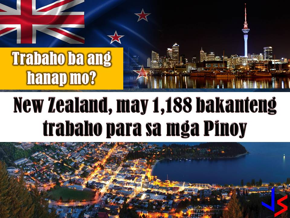 New Zealand is another country hiring for Filipino workers every month. This March 2018 there are 1, 188 vacancies in New Zealand opened for Filipino workers. Jobs included welder, carpenter, painter, driver, machinist and many others. Below is the full list of job orders from the job site or employment site of Philippine Overseas Employment Administration (POEA).  Read more: http://www.jbsolis.com/2018/03/looking-for-jobs-abroad-new-zealand-has-1188-vacancies-for-filipinos.html#ixzz58sreybs7