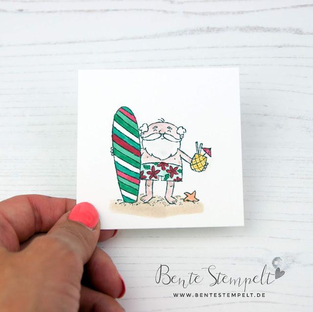 Stampin Up Bente Stempelt Weihnachten Surf Surfbrett Surfboard Santa Weihnachtsmann Stempelset Heiter bis Weihnachtlich Alkoholmarker Stampin Blends