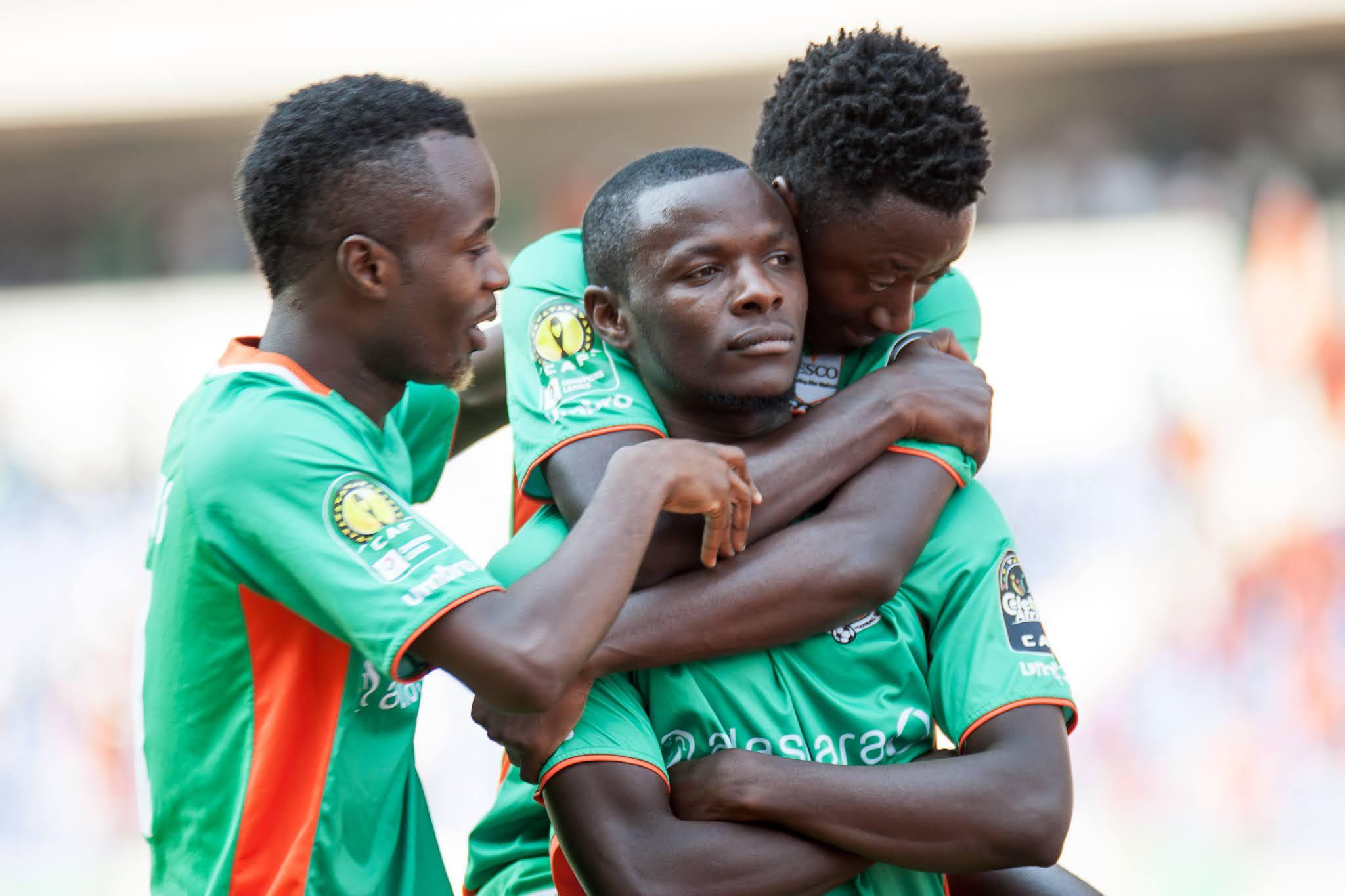 Lazarous Kambole celebrates scoring for Zesco United against Etoile Sportive Du Sahel in 2018