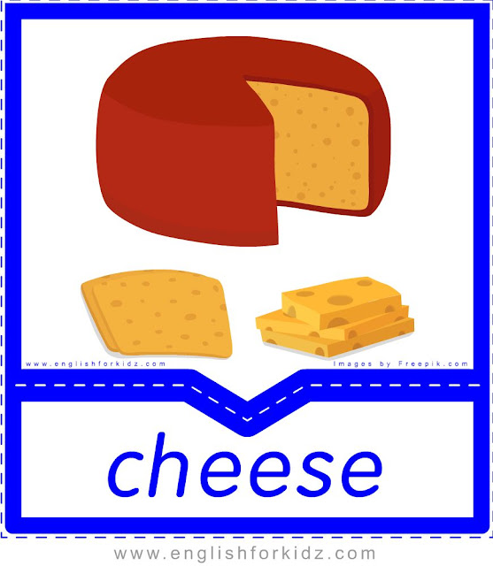Cheese - English food flashcards for ESL students