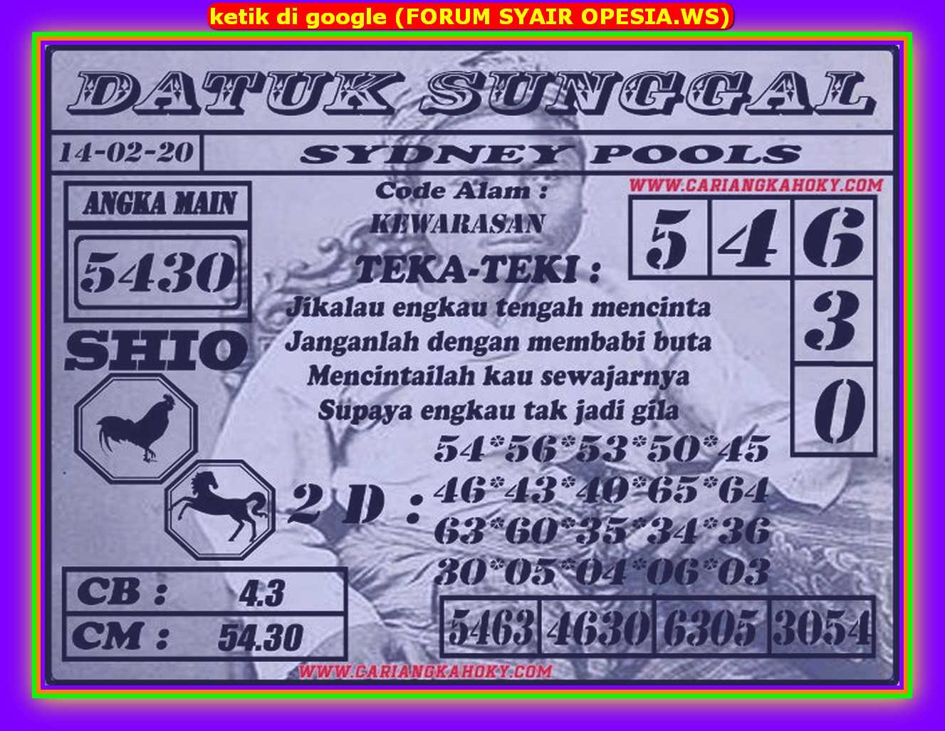 Kode syair Sydney Jumat 14 Februari 2020 52