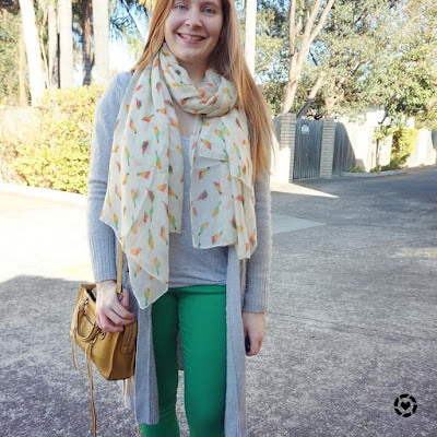 awayfromblue instagram grey maxi cardigan green and yellow outfit colourful skinny jeans mustard bag