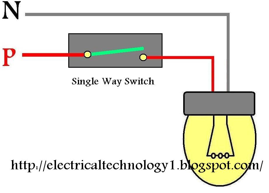 wiring light switch how to control a lamp by 1 way switch. Black Bedroom Furniture Sets. Home Design Ideas