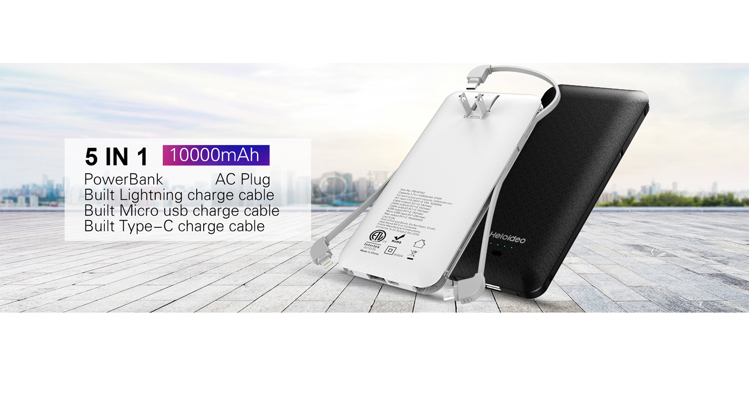 Power Bank with AC outlet,built-in charging cable