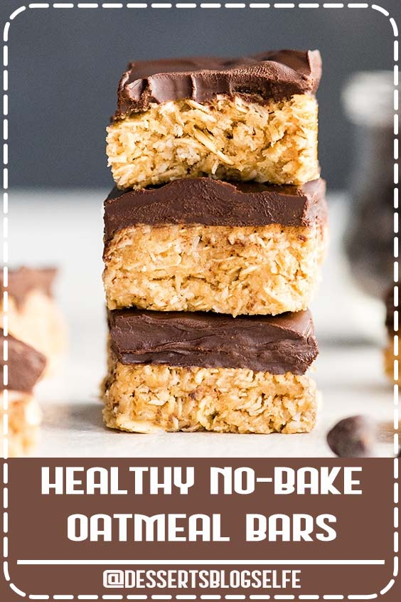 These No-Bake Oatmeal Bars with Peanut Butter & Coconut are the ultimate, easy, no-bake healthy dessert or snack! They are made in 5 minutes with 7 ingredients,  and are gluten and dairy-free! Plus they have no refined sugar and are vegan-friendly! #DessertsBlogSelfe #peanutbutterbars #oatmealbars #nobake #healthydessert #nobakecookies #coconut #peanutbutter #chocolate #HealthyDesserts