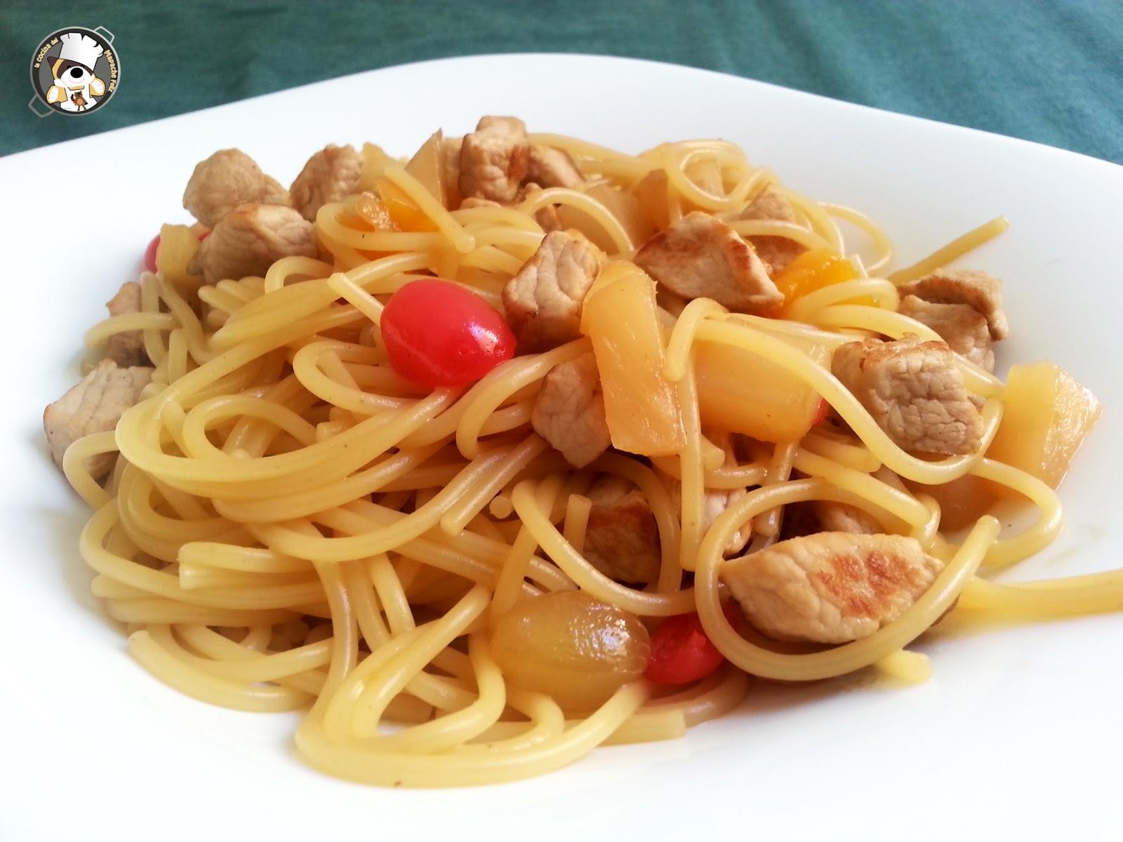 Recetas Fáciles Espaguetis Con Cerdo Y Frutas En Almíbar
