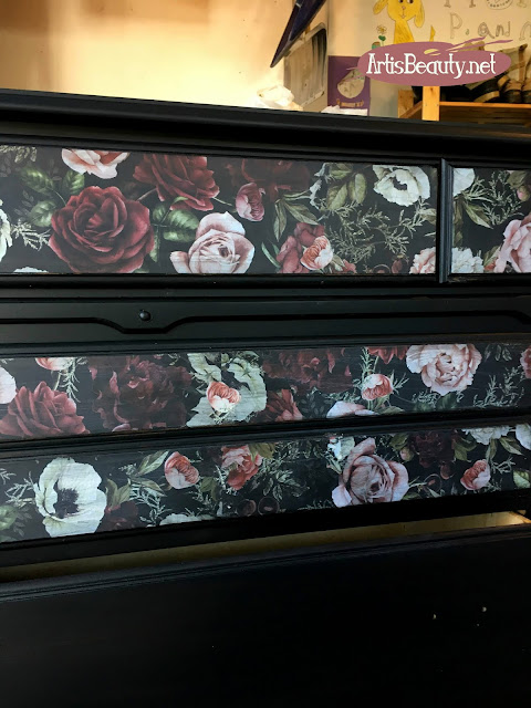 DARK ROMANCE PRIMA REDISGN COLOR TRANSFER Vintage maple dresser turned romantic vintage Floral  color transfers and general finishes lamp black milk paint