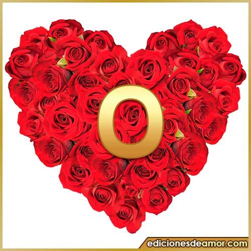 corazón de rosas con letra O