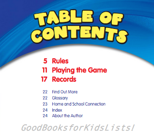 Table of Contents from I KNOW BASEBALL by Joanne Mattern