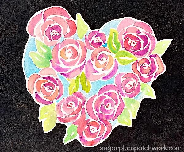 sugarplum patchwork watercolor roses