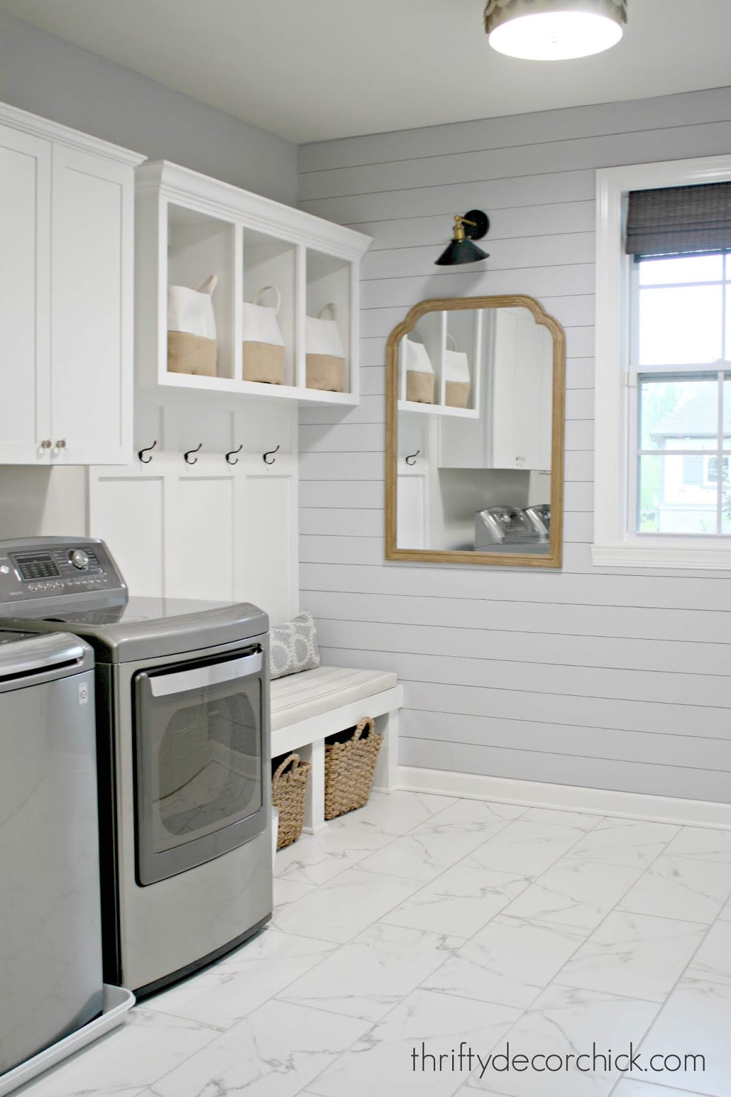 Laundry and mud room combo light gray shiplap