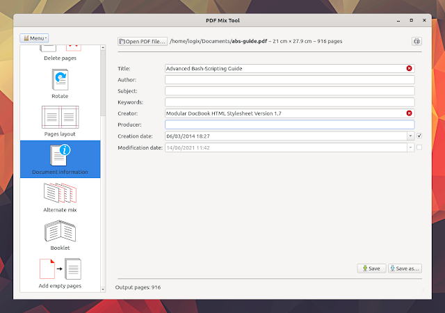 PDF Mix Tool document metadata