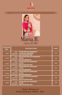 Deepsy maria b Lawn 21 vol 3 pakistani Suits
