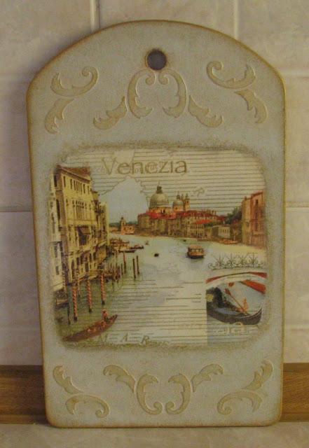 """Доска разделочная """"Волшебная Венеция"""", декупаж."""