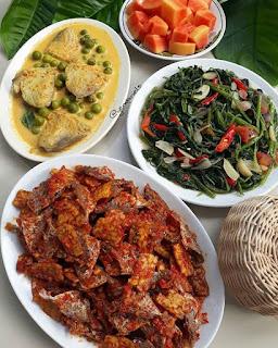 Resep Makan Siang - Tempe, Ikan, Kangkung