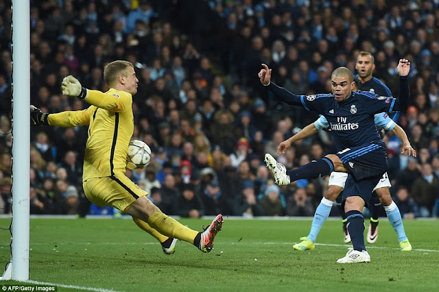 Joe Hart saving parada Manchester City Real Madrid