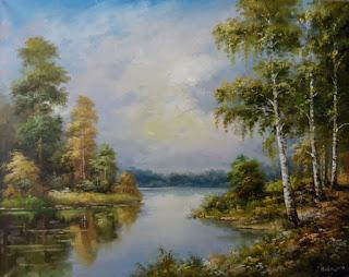 Тихая река текущая по лесу