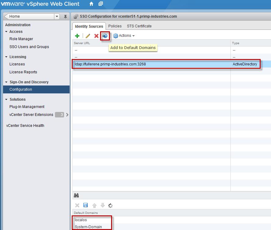 Specifying Default Domains for vSphere Web Client Login