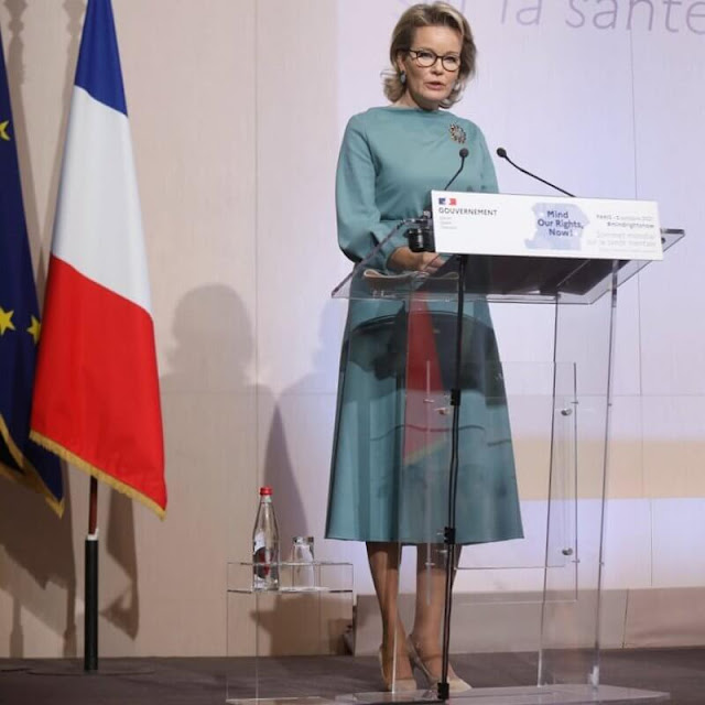 Queen Mathilde wore a turquoise, belted wool cashmere dress from Natan 2021 collection