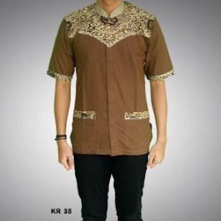 model baju koko batik lengan pendek