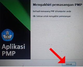 Mengakhiri pemasangan PMP versi 1.4, klik Selesai