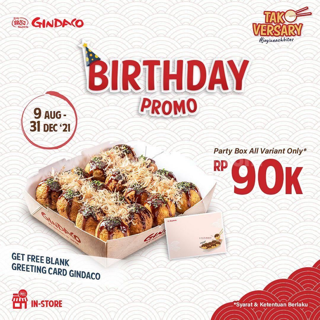 Promo Gindaco Birthday! harga Party Box semua varian cuma 90K