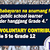 No Fees for KG to Grade 4. List of Voluntary Contributions for Grade 5 to 12.