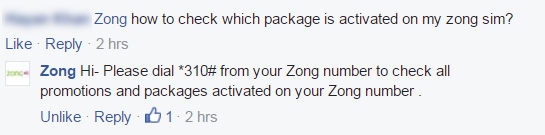 "Zong Response about ""How to check which package is activated on Zong Sim"" question"