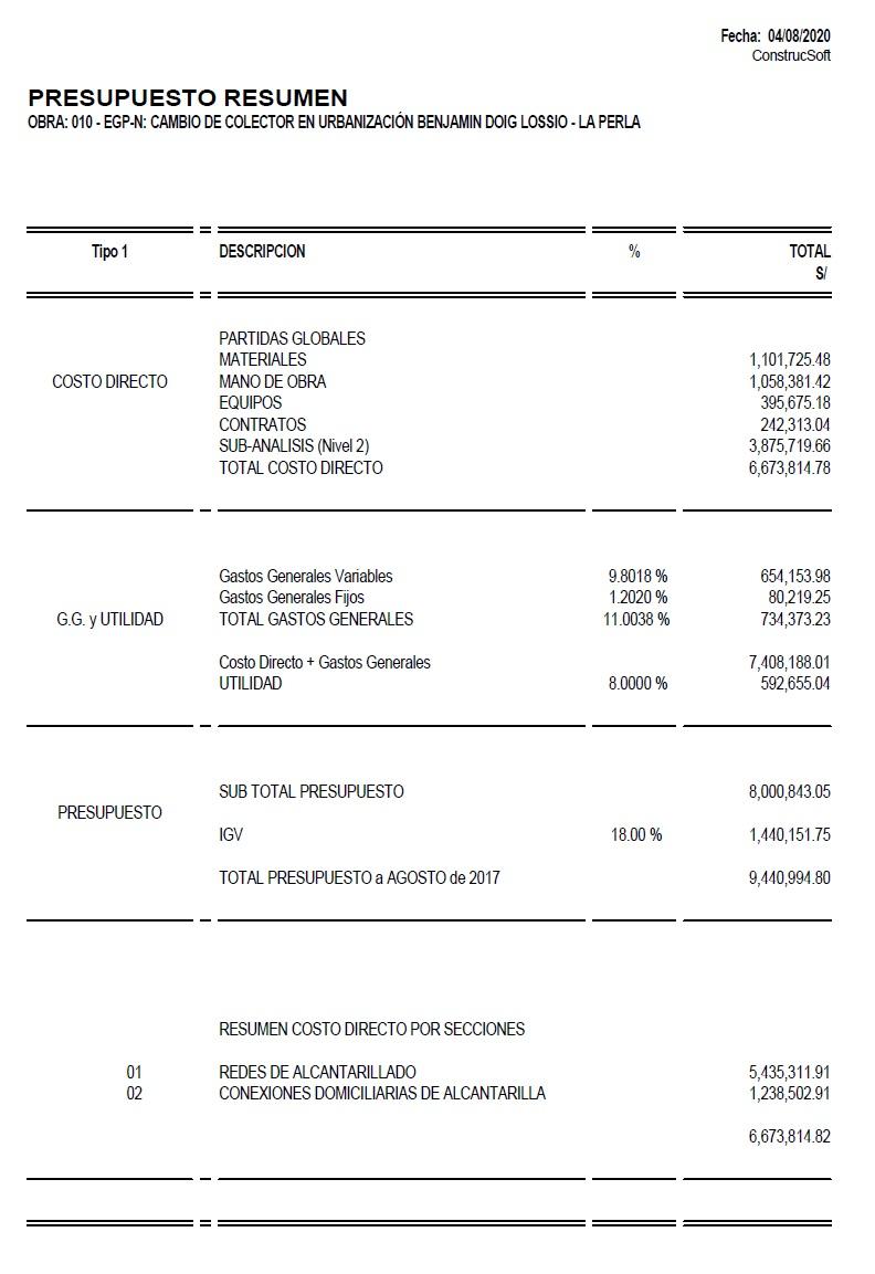 Reporte presupuesto de obra