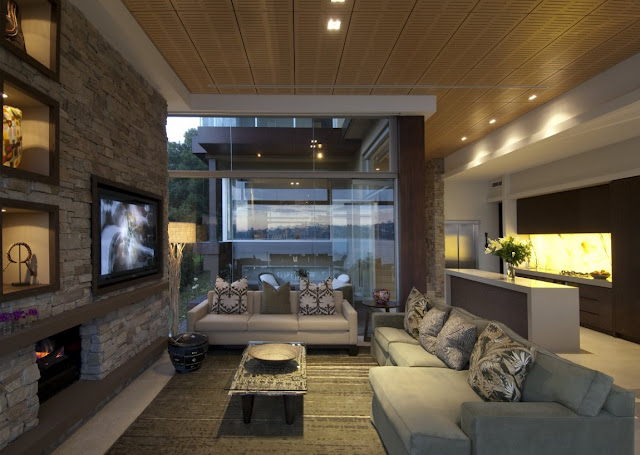 Modern living room with high ceilings