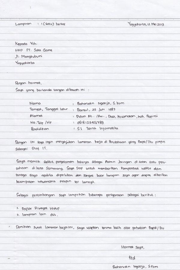 Gambar untuk Contoh Surat Lamaran Kerja Tulis Tangan Yang Baik dan Benar