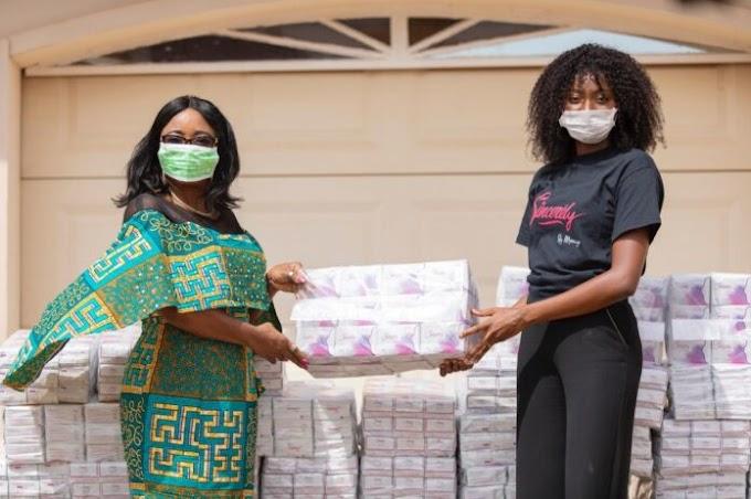 Covid-19: Menaye Donkor Muntari donates sanitary pads to needy women