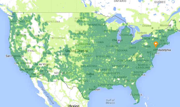 Us Cellular Service Map - Map of cell phone coverage in us