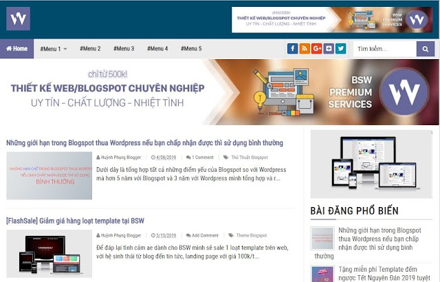 Chia sẻ Template Blogspot BSW Blogging Fastest Free (SEO)