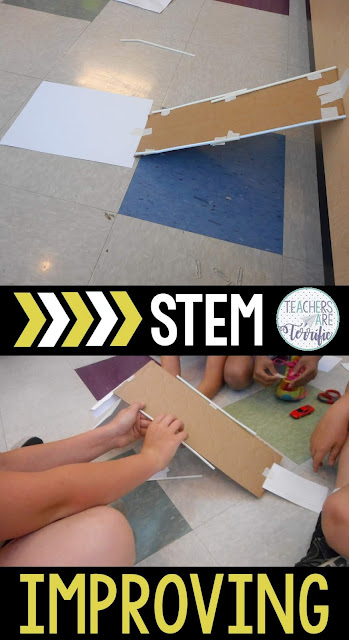 The Improving step of the Engineering Design Process is the best!  KIds automatically problems as soon as they happen. When their first design plan isn't going together as expected they adjust their thinking and change it. Kids will just keep trying one more thing to make it work better. It means constant adjustments and trying again. Don't overlook this step as it unfolds before you. It's my favorite! I love to see how kids solve problems and try and try again. Check this blog post for more!