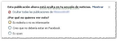 Facebook pregunta ocultar contenido 2013