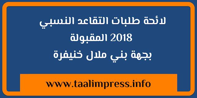لائحة طلبات التقاعد النسبي 2018 المقبولة بجهة بني ملال خنيفرة