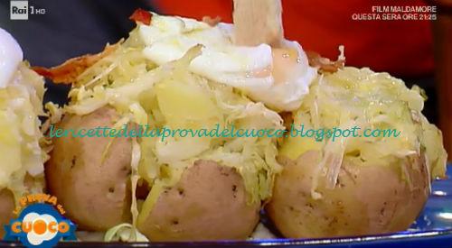 Patate farcite con verza uova in camicia e briciole di speck ricetta Diego Scaramuzza da Prova del Cuoco