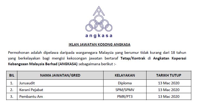 Jawatan Kosong Terkini 2020 Angkatan Koperasi Kebangsaan Malaysia Berhad Angkasa