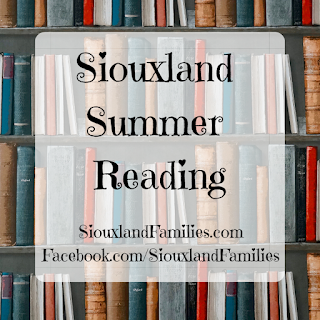 "in background, leather books in many colors on a wooden bookshelf. in foreground, the words ""Siouxland Summer Reading"" and ""SiouxlandFamilies.com Facebook.com/SiouxlandFamilies"""
