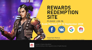 Kode Redeem FF 12 September 2020