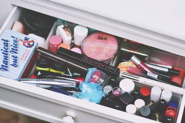 Make up organised in dressing table drawers