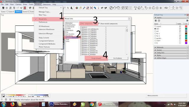 Cara meringankan kerja sketchup - Purge Unused Component