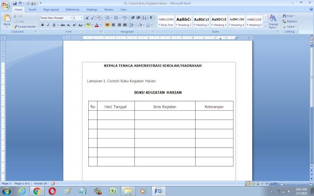 Contoh Format Buku Kegiatan Harian Sekolah/Madrasah