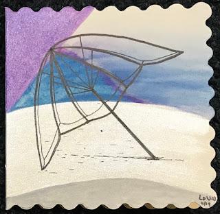miniature ink drawing of umbrella frame on beach, abstract art, artist Linzé Brandon,